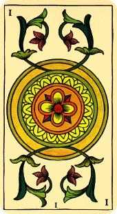 Ace of Coins Tarot Card - Marseilles Tarot Deck
