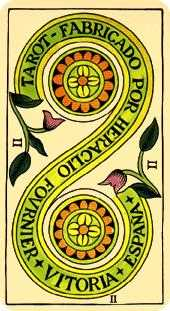 Two of Coins Tarot Card - Marseilles Tarot Deck