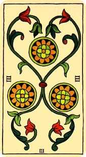 Three of Diamonds Tarot Card - Marseilles Tarot Deck