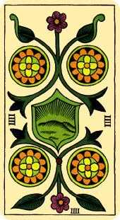 Four of Pumpkins Tarot Card - Marseilles Tarot Deck
