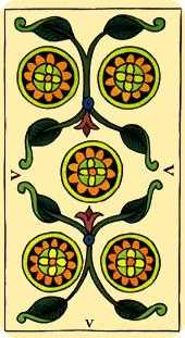 Five of Diamonds Tarot Card - Marseilles Tarot Deck