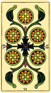 Six of Diamonds Tarot Card - Marseilles Tarot Deck