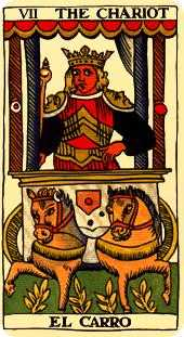 The Chariot Tarot Card - Marseilles Tarot Deck