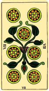 Seven of Diamonds Tarot Card - Marseilles Tarot Deck