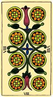 Eight of Coins Tarot Card - Marseilles Tarot Deck