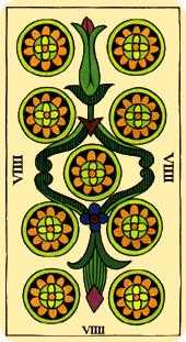 Nine of Coins Tarot Card - Marseilles Tarot Deck