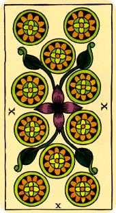 Ten of Pumpkins Tarot Card - Marseilles Tarot Deck