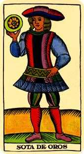 Daughter of Discs Tarot Card - Marseilles Tarot Deck