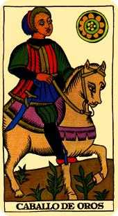 Knight of Coins Tarot Card - Marseilles Tarot Deck
