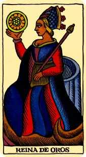 Queen of Diamonds Tarot Card - Marseilles Tarot Deck
