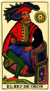 King of Coins Tarot Card - Marseilles Tarot Deck