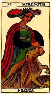 Strength Tarot Card - Marseilles Tarot Deck