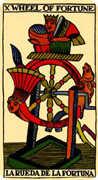 Wheel of Fortune Tarot card in Marseilles Tarot deck