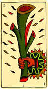 Ace of Wands Tarot card in Marseilles deck