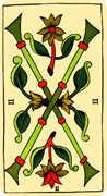 Two of Wands Tarot card in Marseilles Tarot deck