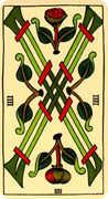 Four of Wands Tarot card in Marseilles Tarot deck
