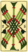 Seven of Wands Tarot card in Marseilles Tarot deck
