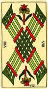 Eight of Wands Tarot card in Marseilles Tarot deck