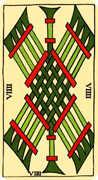 Nine of Wands Tarot card in Marseilles Tarot deck