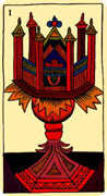 Ace of Cups Tarot card in Marseilles Tarot deck