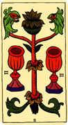 Two of Cups Tarot card in Marseilles Tarot deck