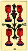 Four of Cups Tarot card in Marseilles Tarot deck