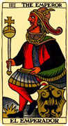 The Emperor Tarot card in Marseilles Tarot deck