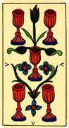 Five of Cups Tarot card in Marseilles Tarot deck