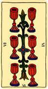 Six of Cups Tarot card in Marseilles Tarot deck