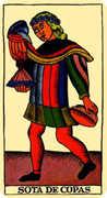 Page of Cups Tarot card in Marseilles Tarot deck