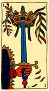 Ace of Swords Tarot card in Marseilles Tarot deck