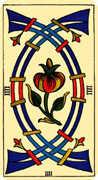 Four of Swords Tarot card in Marseilles Tarot deck