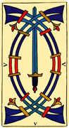 Five of Swords Tarot card in Marseilles deck
