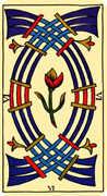 Six of Swords Tarot card in Marseilles Tarot deck