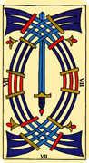 Seven of Swords Tarot card in Marseilles deck