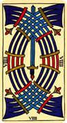 Nine of Swords Tarot card in Marseilles Tarot deck