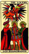 The Lovers Tarot card in Marseilles Tarot deck