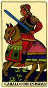 Knight of Swords Tarot card in Marseilles Tarot deck