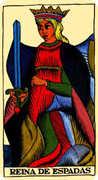 Queen of Swords Tarot card in Marseilles deck