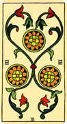 Three of Coins Tarot card in Marseilles Tarot deck