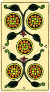 Five of Coins Tarot card in Marseilles deck