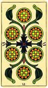 Six of Coins Tarot card in Marseilles Tarot deck