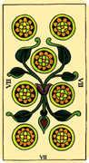 Seven of Coins Tarot card in Marseilles deck