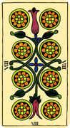 Eight of Coins Tarot card in Marseilles deck