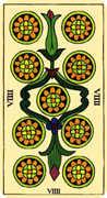 Nine of Coins Tarot card in Marseilles deck