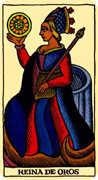 Queen of Coins Tarot card in Marseilles deck