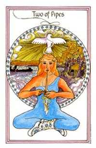 Two of Pipes Tarot Card - Medicine Woman Tarot Deck