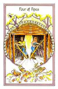 Four of Pipes Tarot Card - Medicine Woman Tarot Deck