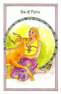 Six of Rods Tarot Card - Medicine Woman Tarot Deck