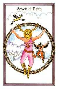 Seven of Staves Tarot Card - Medicine Woman Tarot Deck